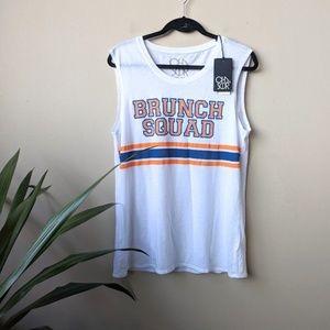 Chaser Brunch Squad Stripe Sleeveless White Shirt